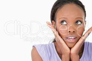 Close up of woman being afraid on white background