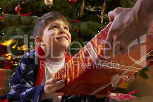 Young Boy Receiving Christmas Present In Front Of Tree