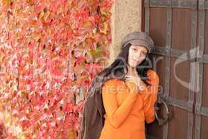 Autumn portrait of beautiful young female model