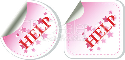 vector Help button sticker isolated on white background