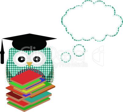Owl teacher and books with vector speech bubble