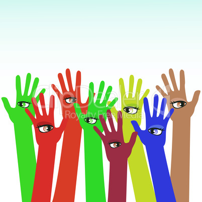 happy multicolored hands with beautiful eye vector