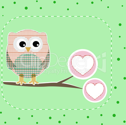 cute love owl on the branch vector birthday card