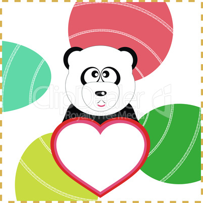 love panda with the heart on a vector background