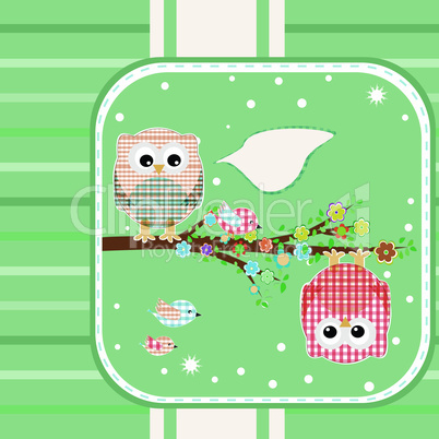 textile owl bird on floral branch tree with bubbles Vector