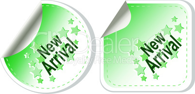 New Arrival vector Button Label set isolated on white
