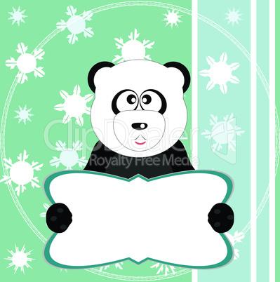 panda bear on soft green greeting vector card