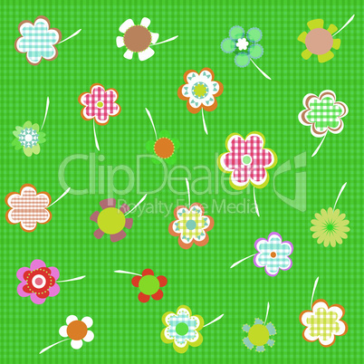 Hand drawn floral wallpaper with set of different flowers vector