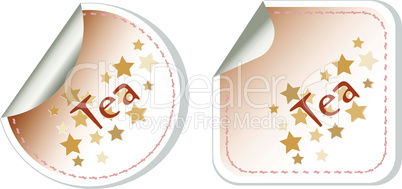 Tea set label stickers restaurant card vector