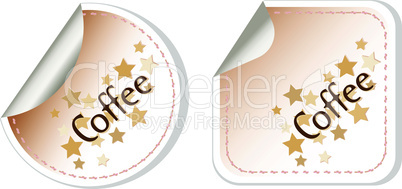Coffee vector stickers label brown set restaurant card