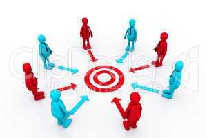 Team work target with leaders