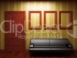 illuminated fabric wallpaper and door