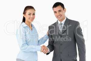Smiling business partners shaking hands