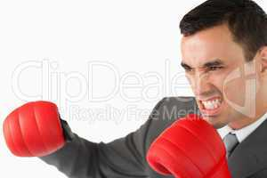 Side view of aggressive businessman with boxing gloves
