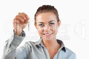 Close up of female estate agent holding keys