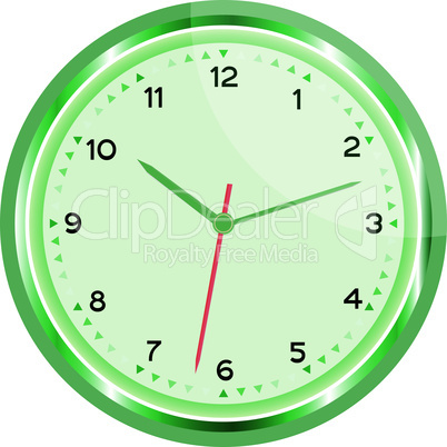 wall green clock vector Vintage isolated on white background