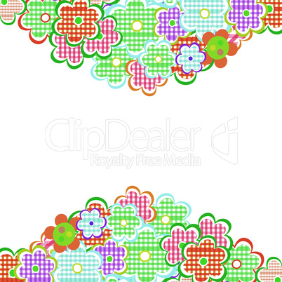 Beautiful Flowers Border. Floral design isolated on white