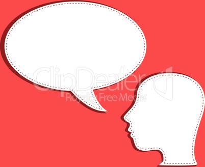 human talks in a speech bubble