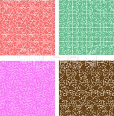 Set of stylish seamless geometrical backgrounds pattern