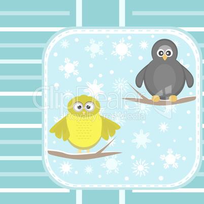 owl and a penguin on a tree under snowfall vector card