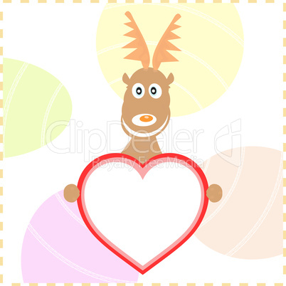 xmas rudolph deer holding heart card for text