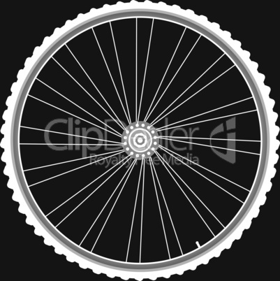 white Bike wheels isolated black background vector