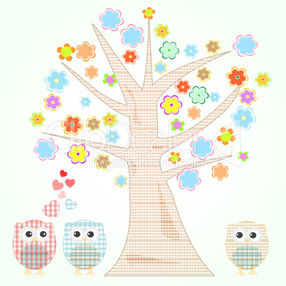 vector cute little owls in love tree and flowers