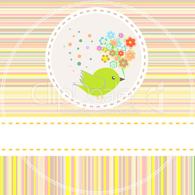 Birthday vector card with cute birds with flowers and gifts