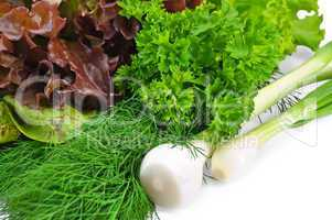 Spicy greens with salad and onion