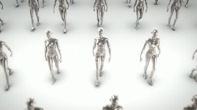 Metal women walking
