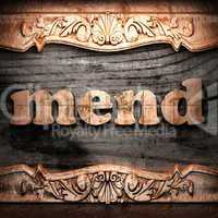 Golden word on wood