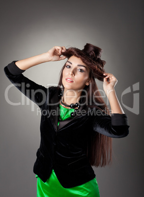 Beauty woman posing in hair style hat