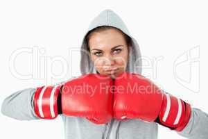 Female boxer wearing hoodie sweater