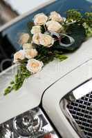 Bouquet of flowers on a hood