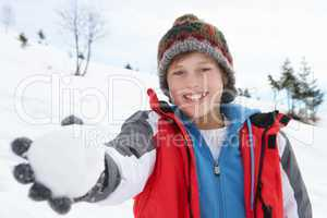 Pre-teen Boy On Winter Vacation