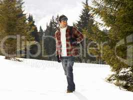 Young Man In Alpine Snow Scene