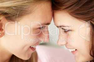 Close up portrait of teenage girls in profile