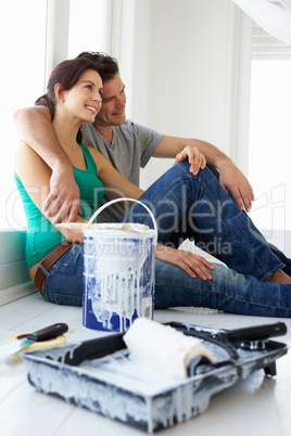 Couple decorating house