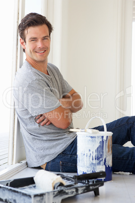 Man decorating house