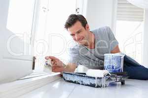 Man decorating house