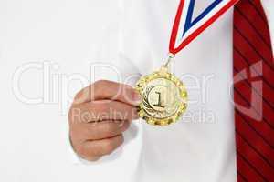 Businessman wearing medal
