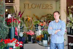 Man standing outside florist