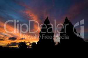 Hindu temple in sunset