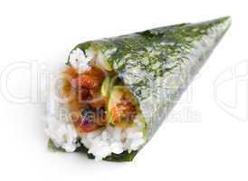 Hand roll temaki sushi.