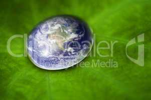 Planet earth waterdrop.