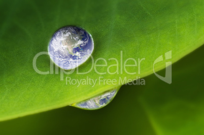 Planet earth waterdrop