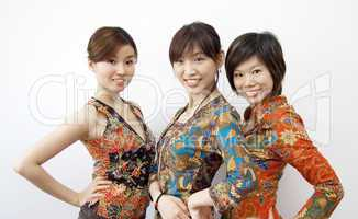 three Asian girls