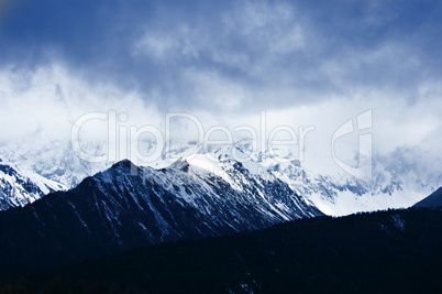 Scenic winter mountain