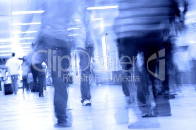 people walking in subway