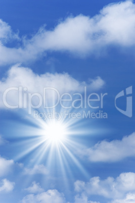 Beautiful blue sky with sunlight